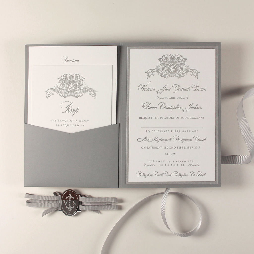 Luxury Letterpress 710 gsm Grey Pocket fold Wedding Invitation Suite