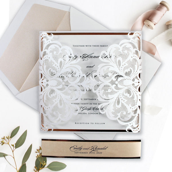 Rose Gold Foil Blush and White Classic Laser cut Luxury Gatefold Invitation with Belly Band + Lined Envelope
