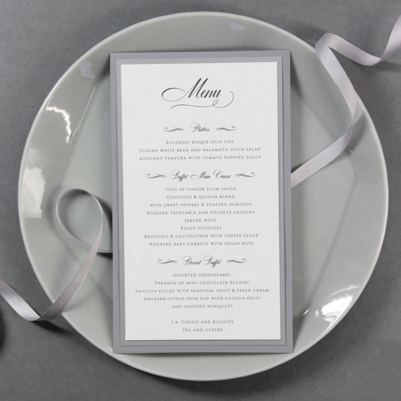 Luxury 600 gsm Menu with Monogram matching to Letterpress Open Folder Pocket