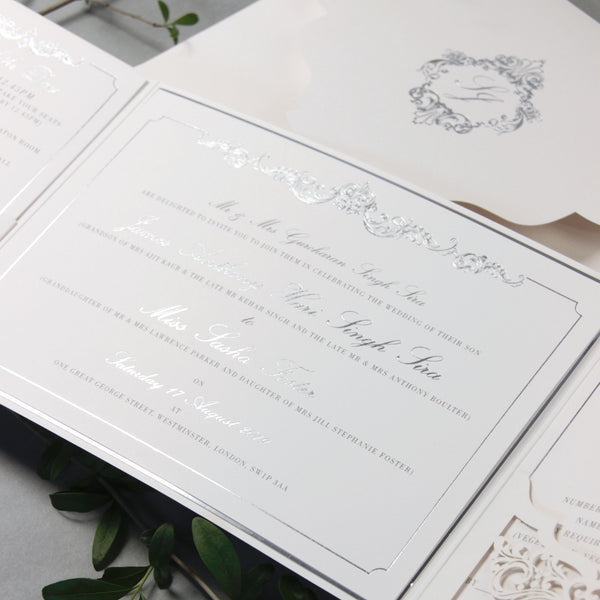 Luxury Siver Foil pocket fold suite for Wedding Day, Rsvp, Info Card Invitation Suite with Laser Cut pocket, Calligraphy Script