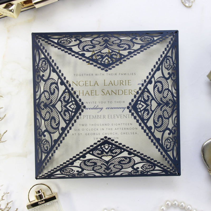 Navy and Gold and Intricate Laser Cut Square Gold Foil border with Glitter Pocket Invitation
