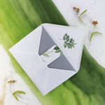 Greenery and Grey Pocket Fold Suite with Belly Band - Wedding Invitation and 3 inserts and Monogramed Envelope Liner