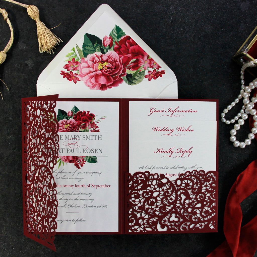 Bordeaux Wine Laser Cut Folder Invitation Suite with 3 inserts and Monogram Envelope