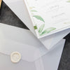 Modern Calligraphy Invitation  3 Tier Folder Pocket Suite with Vellum Parchment Envelope and Pearl Wax Seal with ribbed ribbon