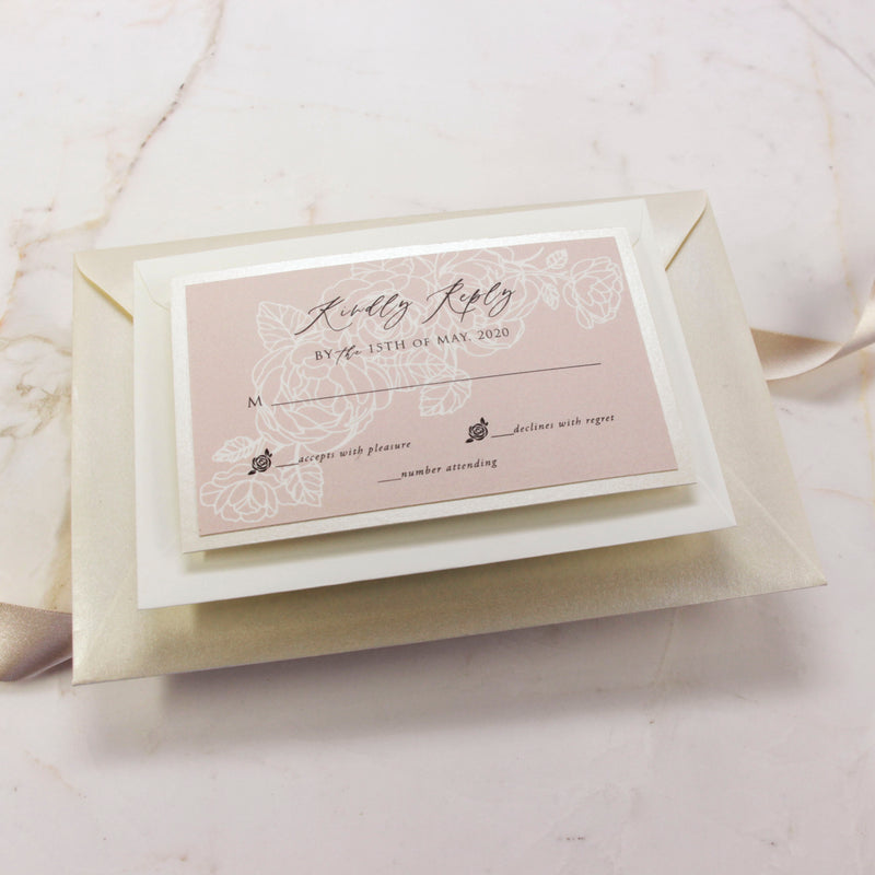 Understated Simplicity Invitation with Calligraphy suite with Rsvp + Envelope