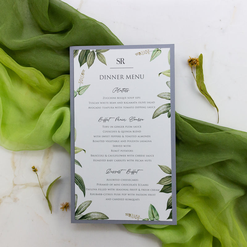 Greenery and Grey Menu