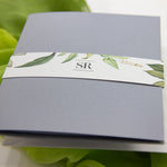Greenery and Grey Evening Invitation with Belly Band