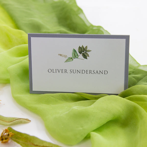 Boho Greenery and Grey Place Card