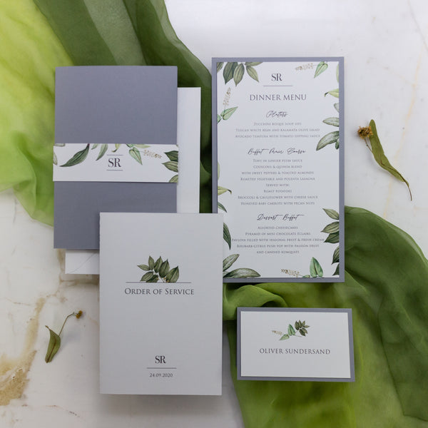 Greenery and Grey order of Service