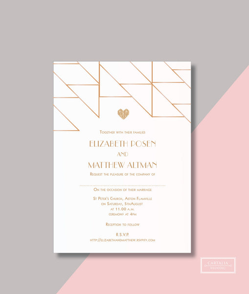 Geometric Heart with Gold Foil Wedding Day Invitation