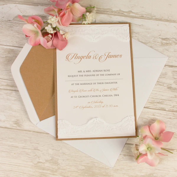 Vintage White Lace Rustic Wedding Day Invitation