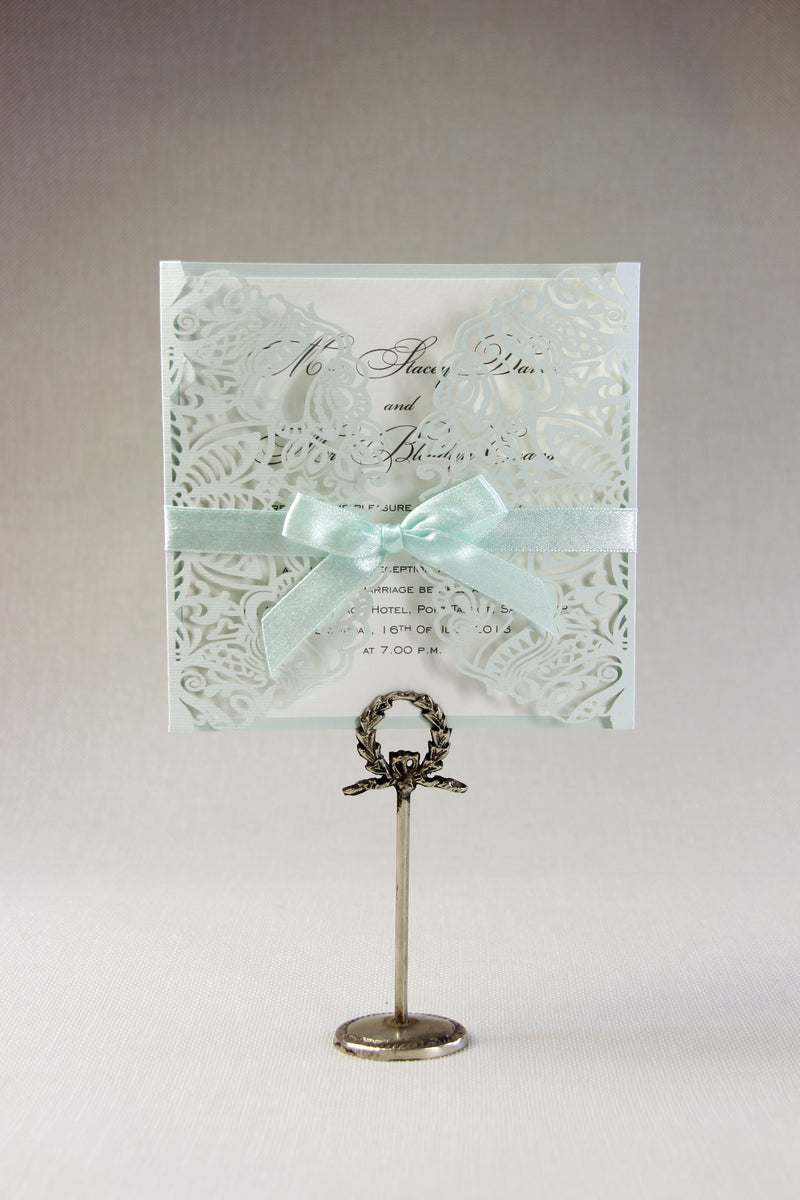 Intricate Filigree Lace Laser Cut Gatefold Evening Invitation