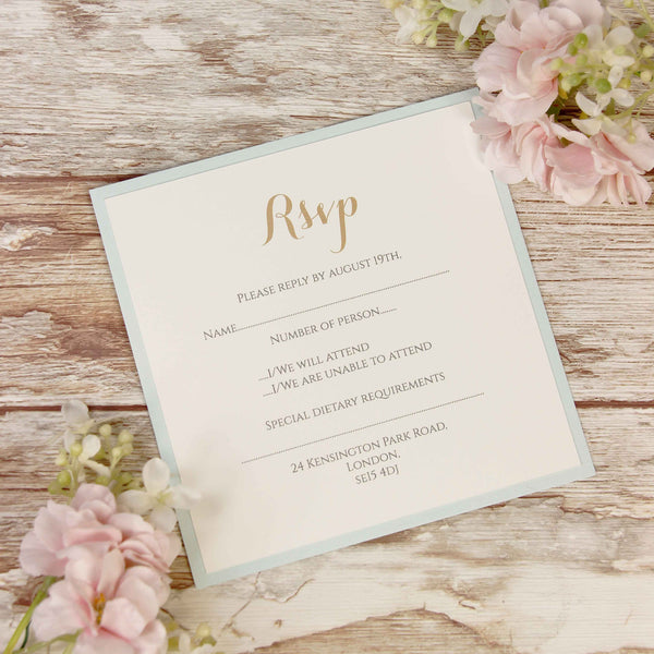 Blue Lace Pocketfold Rustic RSVP Card