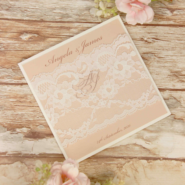 Delicate White Lace Bandeau Rustic Wedding Evening Invitation