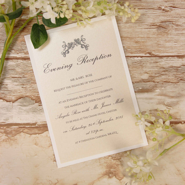Black Lace Rustic Evening Invitation