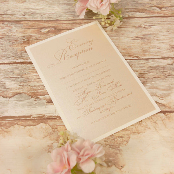 Peach Lace Rustic Evening Invitation
