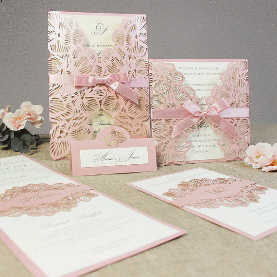 Intricate Orchid with Satin Ribbon Laser Cut Gatefold Wedding Invitation
