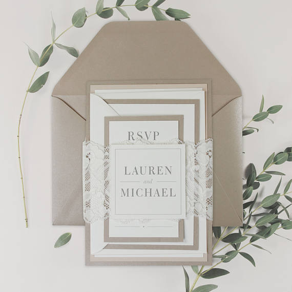 Modern Beige and Champagne Script Wedding Lace invitation Suite with Sand Metallic Envelope + Rsvp with Envelope