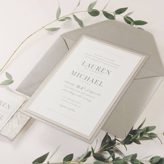 White Lace and Sand Tiered Invitation Set with RSVP