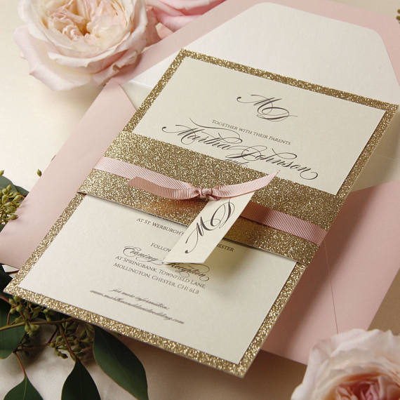 Tiered Golden Glitter Invitation with Monogram Tag and Ribbon Tie with Belly Band Suite