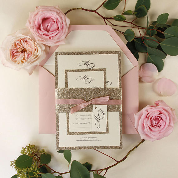 Tiered Golden Glitter Invitation with Pink Bow tie with Personal Tag