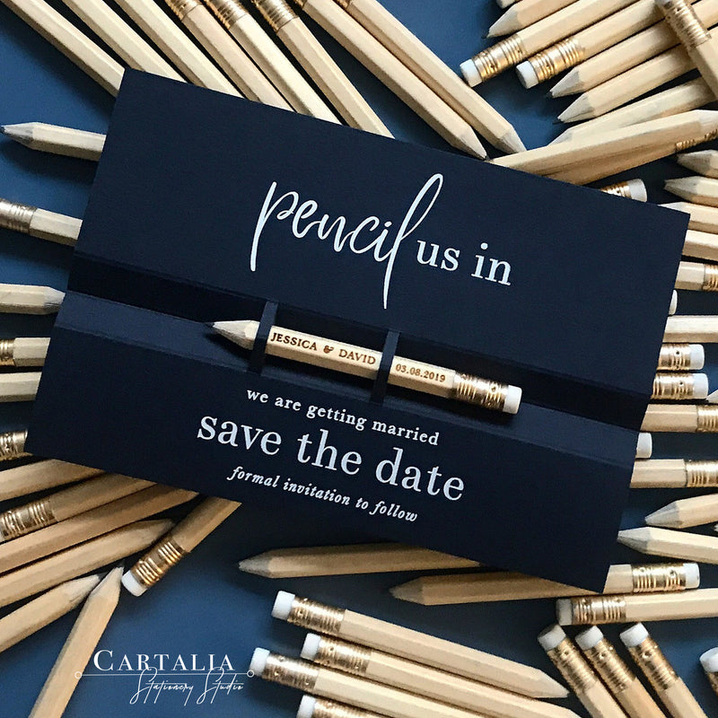 Pencil us in ✏ Save the Date Wedding Card in Dusty Grey with your names Engraved