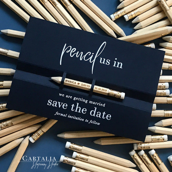 Navy Pencil us in ✏ Save the Date Wedding Card with White Foil text and your names Engraved