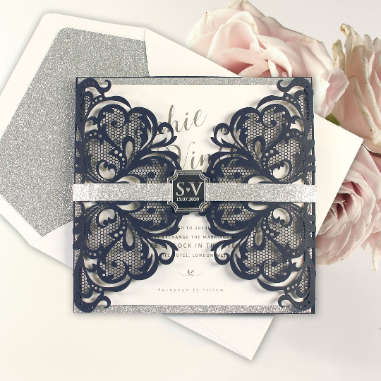 Silver Glitter Navy Double Fold Gatefold with Mirror Tag Design.