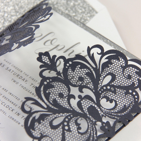 Navy Laser Cut Day Invitation, Silver Glitter Belly Band with Monogram Tag and Matching Envelope with Silver Glitter Liner