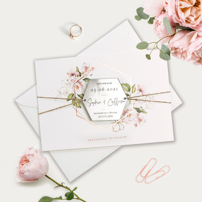 Hexagonal Mirror Magnet Personalised Engraving  Save the Date Card with Real Foil