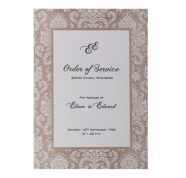 Embossed Damasque Order of Service / Menu