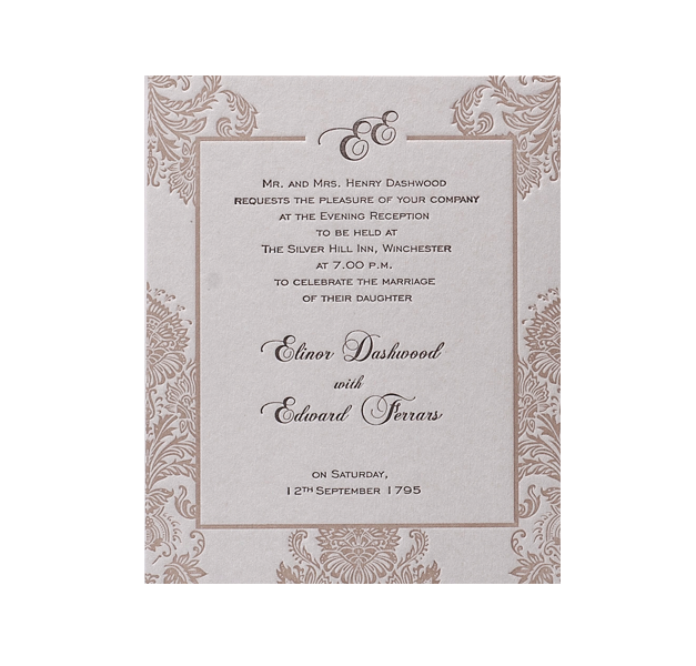 Embossed Damasque Evening Invitation