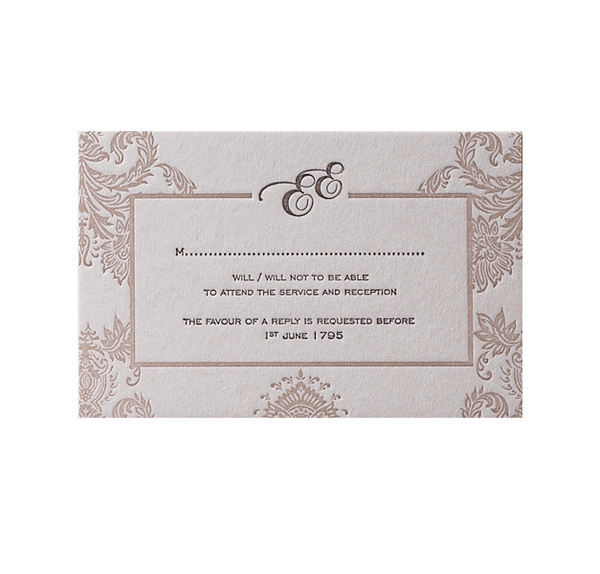 Embossed Damasque Reply / Save the Date / Thank You card