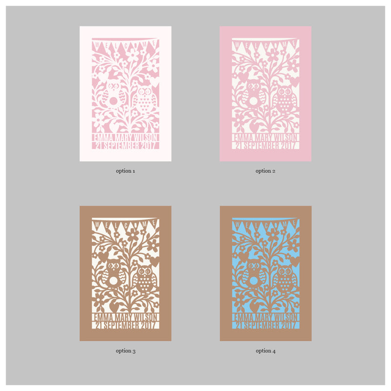 Pastel Quirky Owls Baby Shower / Birthday Laser Cut Invitation
