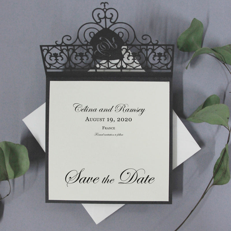 Bespoke Venue Ornamental Gate Laser Cut Modern Square Save the Date with Envelope