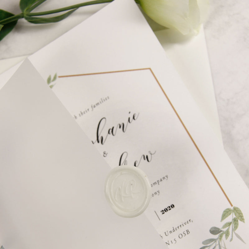White Wax Seal Monogram Vellum / Parchment Folder Wrap Wedding Foliage Wedding Invitation