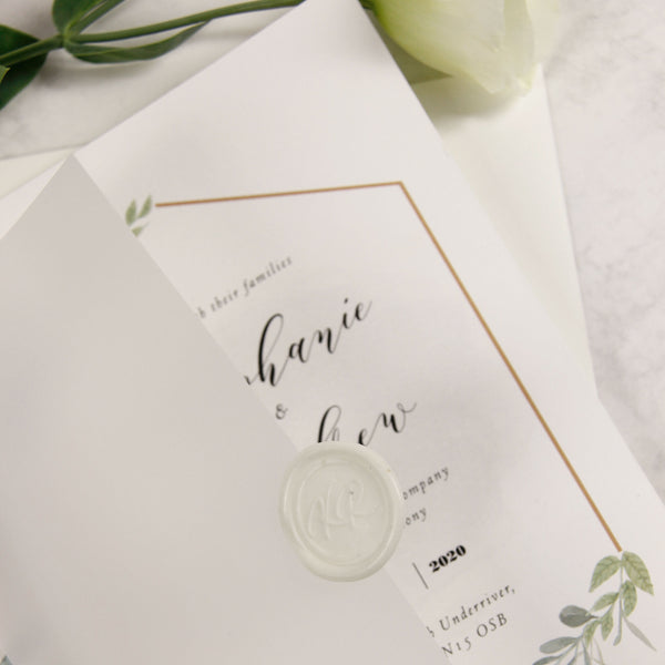 Wax Seal Monogram and Parchment Pocket Fold Invitation.