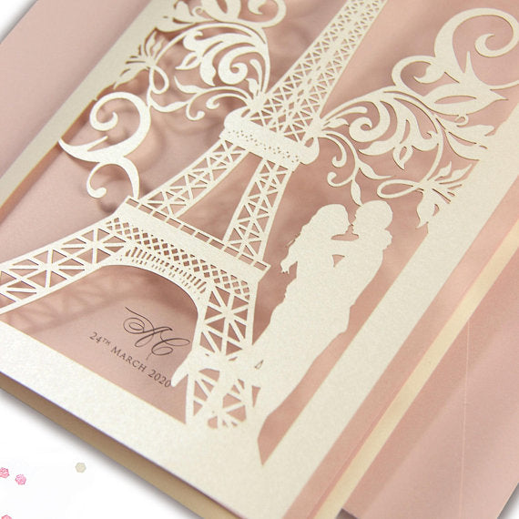 She said Yes in Paris, France, Eiffel Tower, Personalised with Colour Envelopes & RSVP