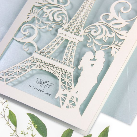She said Yes in Paris, France, Eiffel Tower, Blue Laser cut Design