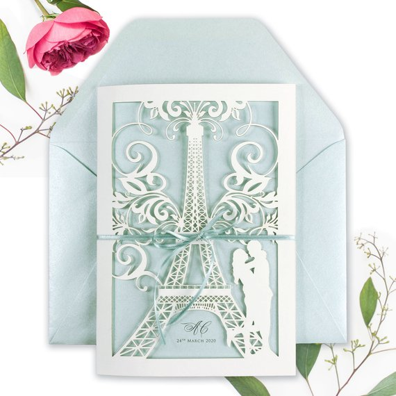 Laser Cut Paris Wedding Invitation, She said Yes in Paris, France, Eiffel Tower, Tiffany Blue Personalised with Colour Envelopes and RSVP