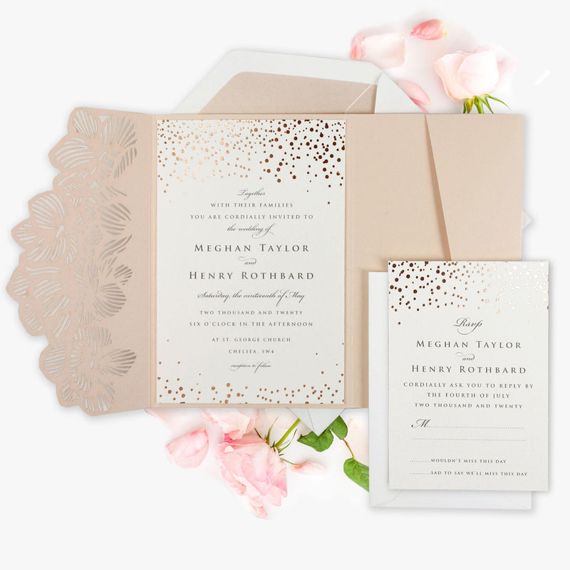 Peachy Pink Orchid Floral Confetti Gold Foil Laser Cut pocket Fold with RSVP and Envelopes