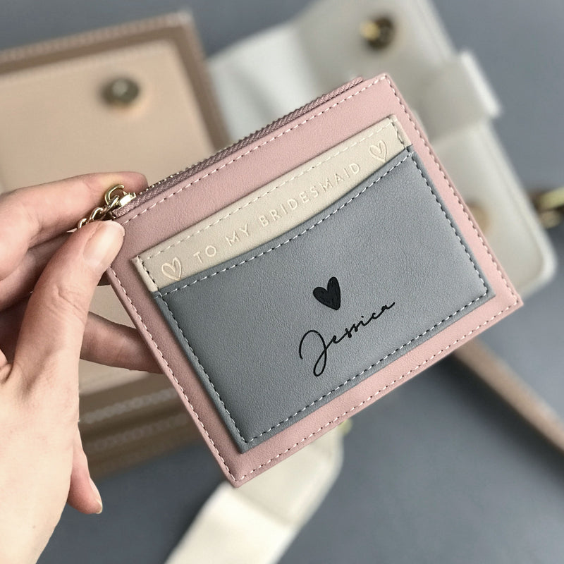 Personalised Bridesmaid Proposal Idea Cute Leather Wallet Card Holder Coin purse