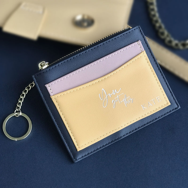 Personalised Womans Money holder card, Coin purse with Custom Engrave