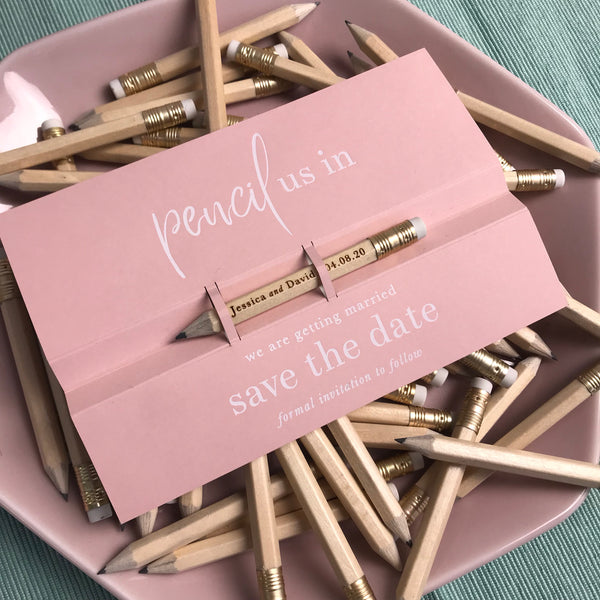 Pencil us in ✏ Save the Date Wedding Card in Dusty Pink with your names Engraved