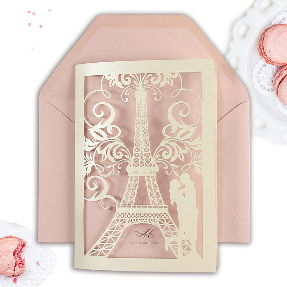 Pink Laser Cut Paris Wedding Invitation, She said Yes in Paris, France, Eiffel Tower, Tiffany Blue Personalised with Colour Envelopes and RSVP