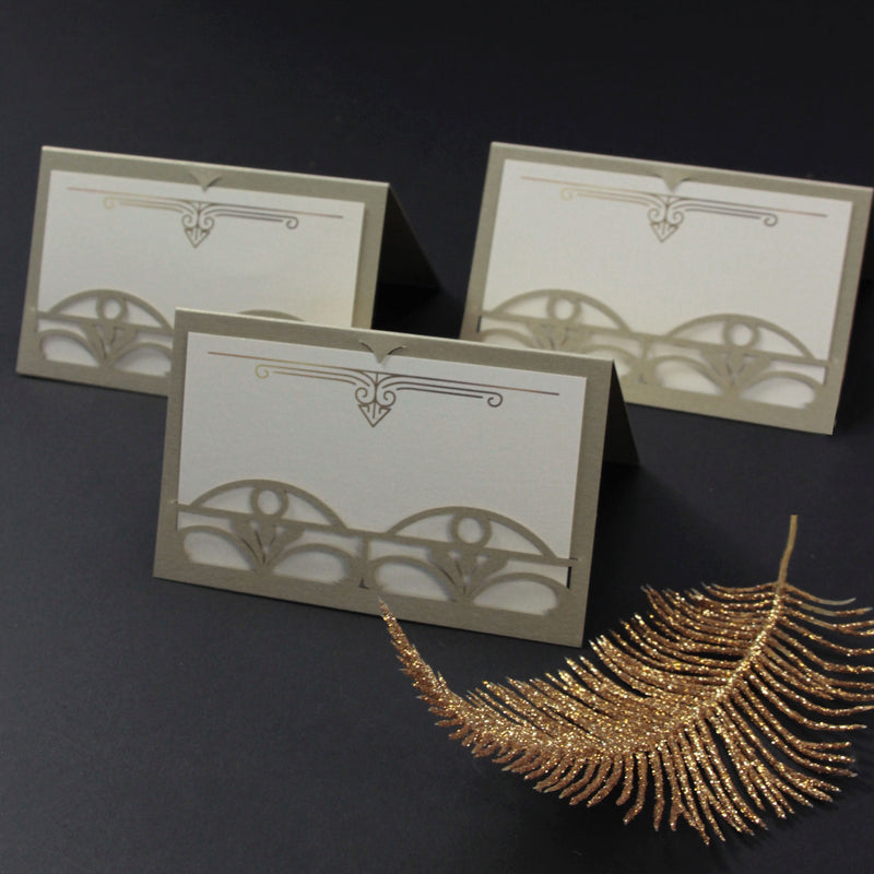 Golden Hollywood Lasercut Art Deco Great Gatsby Laser Cut Place Card