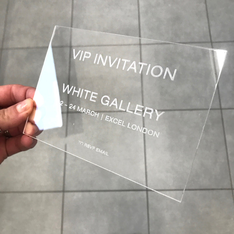 Modern Calligraphy Perspex Acrylic See Through Plexi Invitation - Engraved