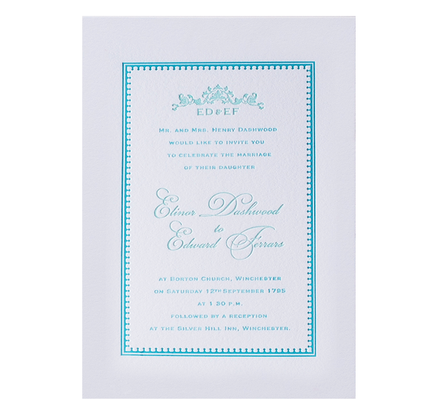 Mint Letterpress Evening Invitation