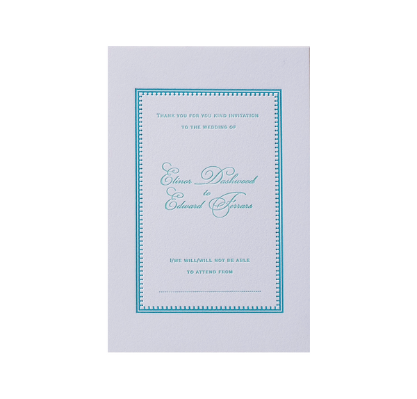 Mint Letterpress Reply / Thank You / Save the Date Card