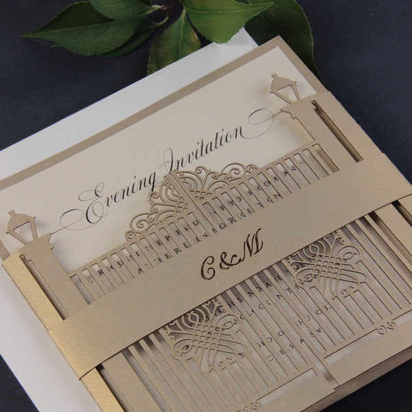 Romantic Ornamental Gate Laser Cut Evening / Reception Wedding Invitation with Belly Band